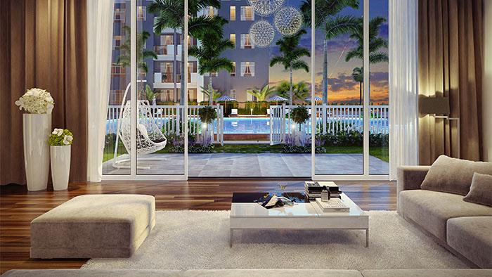 Căn hộ Duplex sẽ đem đến cho chủ nhân cảm giác đang ở biệt thự sân vườn riêng biệt,nơi có tầm nhìn rộng mở với hồ bơi và cảnh quan thiên nhiên xanh mát.